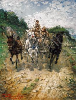 Kubányi, Lajos, - Galloping with the Cart
