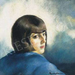 Erdélyi Ferenc - Barnahajú lány kék háttérrel, 1926