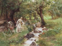 Neogrády, Antal - Lady Picking Flowers by the Stream