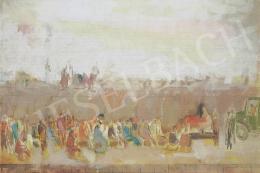 Bernáth Aurél - Építés. A Munkásállam című falkép alsó felének vázlata, 1968