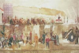 Bernáth Aurél - Gyűlés. A Munkásállam című falkép felső felének vázlata, 1968