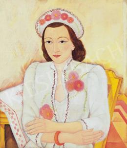 Fülöp Antal Andor - Lány virágos ruhában, 1940