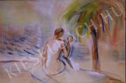 Egry József - Balaton partján szépítkező akt