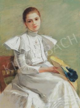 Telkessy Valéria - Fiatal lány kék tollas kalappal, 1898