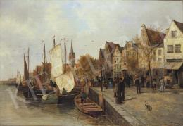 Signed as F Dupin, about 1900 - Harbour in the Netherlands