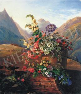 Ismeretlen osztrák festő, 19. század - Alpesi virágcsokor