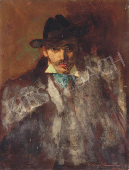 Márffy, Ödön - Man Wearing a Hat and a Green Scarf | 34th Auction auction / 36 Item