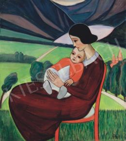 Bergerné Koszits, Hilda - Art Deco Madonna Sitting on a Red Thonet Chair