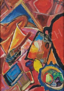 Frank Frigyes - Műtermi csendélet gyümölcstállal és palettával