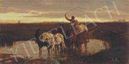 Lotz Károly - Alkonyat lovas szekérrel, 1870 körül