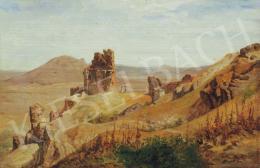Telepy Károly - Romantikus táj várrommal, 1891