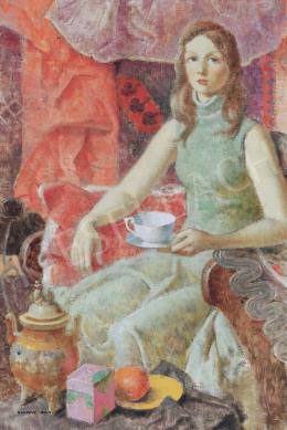 Kontuly Béla - Fiatal lány  teáscsészével