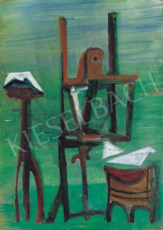 Vajda Júlia - Zöld műterem festőállvánnyal   34. Aukció aukció / 186 tétel
