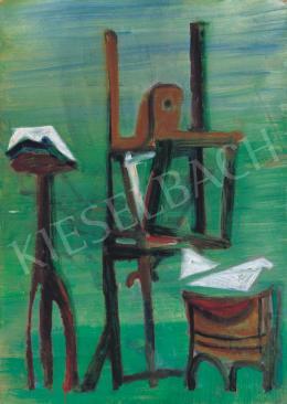 Vajda Júlia - Zöld műterem festőállvánnyal