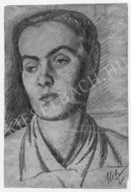 Uitz Béla - Felhúzott szemöldökű női arc (1910-es évek vége)