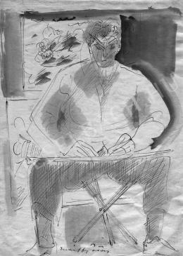 Márffy Ödön - Önarckép (tábori kis széken), 1930-as évek második fele