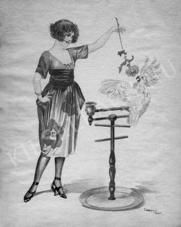 Faragó, Géza - Young Woman with Cockatoo, 1910s