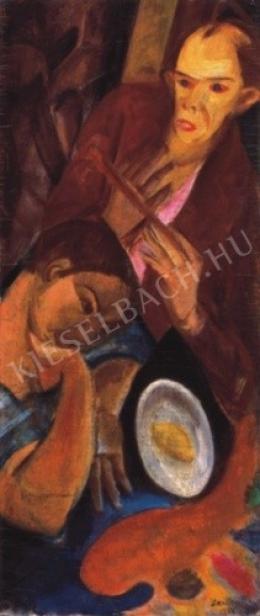 Derkovits Gyula - Otthon (Otthonomban, Kettős önarckép), 1927