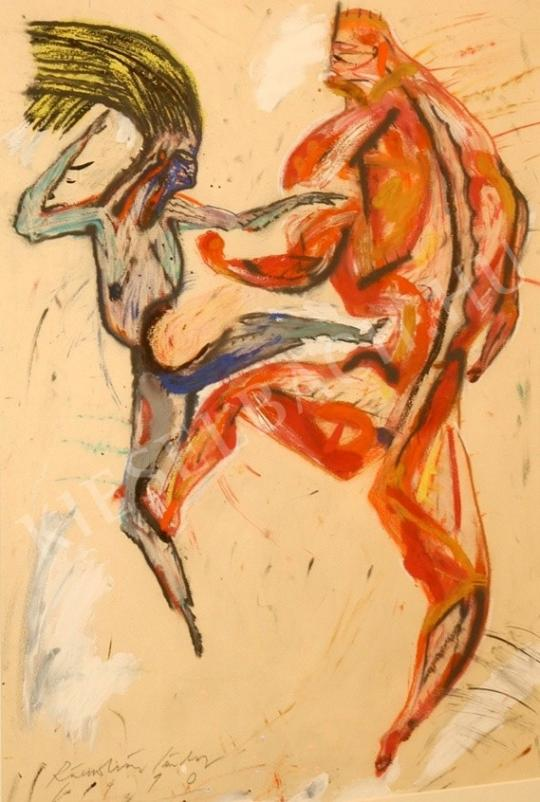 Rácmolnár, Sándor - Fight of Schwarzenegger and a Zombie painting