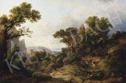 Ifj. Markó Károly - Pihenő család itáliai tájban, 1856