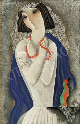Kádár, Béla - Art Deco Girl Wearing Red Necklace of Pearls, c. 1934