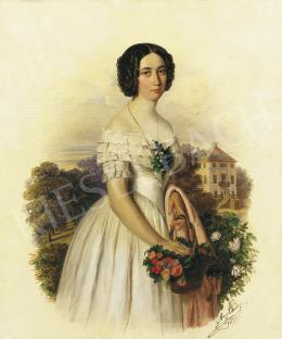 Canzi Ágost - Kislány virágkosárral háttérben kastélyparkkal, 1847