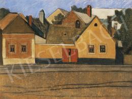 Vajda Lajos - Szentendrei házak kék égbolttal