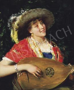 Ismeretlen festő - Mandolinos hölgy