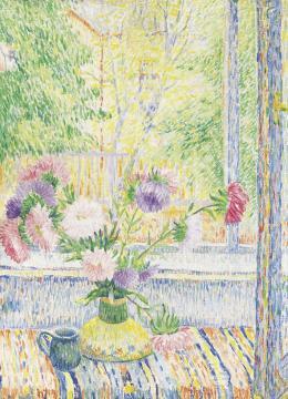 Czimra Gyula - Virágcsendélet ablakban (Őszirózsák)