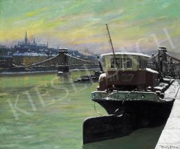 Ulrich Géza - Téli Budapest a századfordulón a kivilágított Lánchíddal