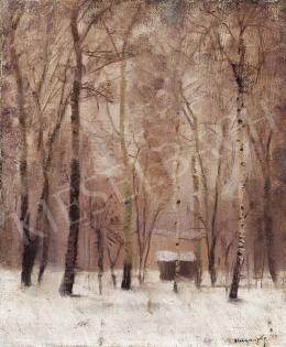 Mednyánszky László - Erdei házikó téli tájban