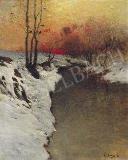 K. Spányi Béla - Téli folyópart