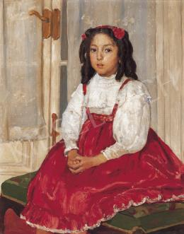 Kunffy, Lajos - Girl in Red Dress