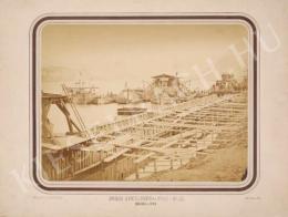 Lovich Antal - A budai rakpart építése a Lánchíd és a Gellérthegy között, 1872