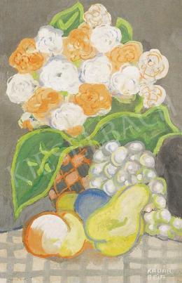 Kádár Béla - Virágcsendélet gyümölcsökkel