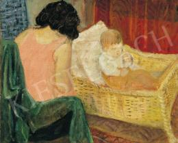Berény, Róbert - At Home (Mother and Child, Sleeping), 1930