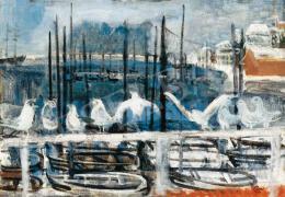 Bernáth Aurél - Halászkikötő sirályokkal