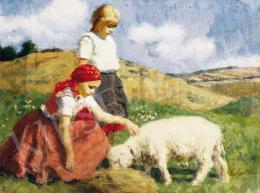 Glatz Oszkár - Kislányok báránnyal, 1932
