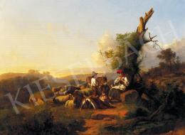 Markó, András - Resting Shepherd Family in Italian Lansdscape, 1867
