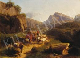Markó, András - Italian Landscape with People Arriving Home, 1867