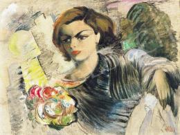 Klie Zoltán - Fiatal nő virágcsokorral