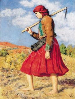 Glatz Oszkár - Fiatal lány őszi domboldalon