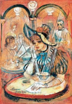 Remsey Jenő György - Párizsi lány kávéházban (A levél) | 37. Aukció aukció / 9 tétel