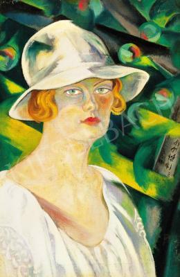 Boromisza, Tibor - Lady in white hat