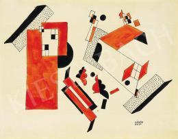 Kádár Béla - Kompozíció házzal, 1920-as évek