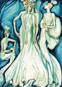 Batthyány, Gyula - Mondaine ladies in white evening gowns, around 1930