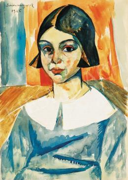 Schönberger Armand - Kislány (Vörös háttér előtt), 1925