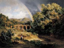 Id. Markó, Károly sr. - Italian Landscape with Viaduct and Rainbow