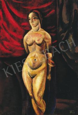 Csabai-Ékes Lajos - Akt bordó drapéria előtt, 1921
