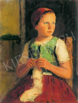 Glatz, Oszkár - Little girl in red scarf
